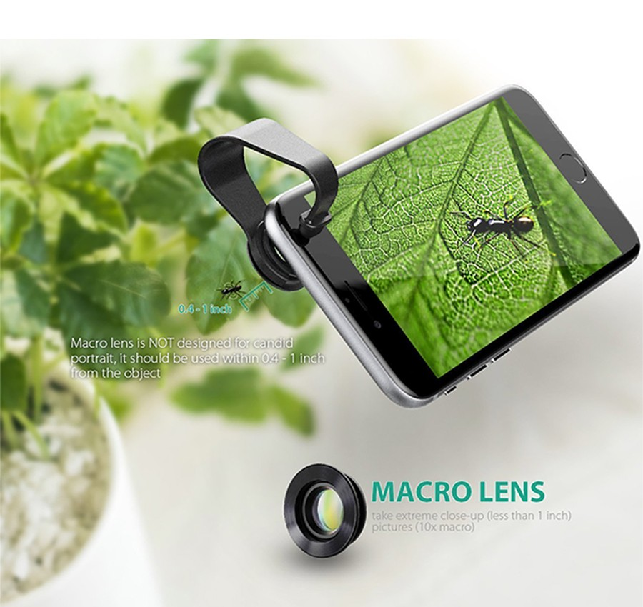 AUKEY Fish eye Lens 3in 1 Clip-on Cell Phone Camera 180 Degree Fisheye Lens+Wide Angle+Macro Lens for iPhone 7Plus Xiaomi & More 11