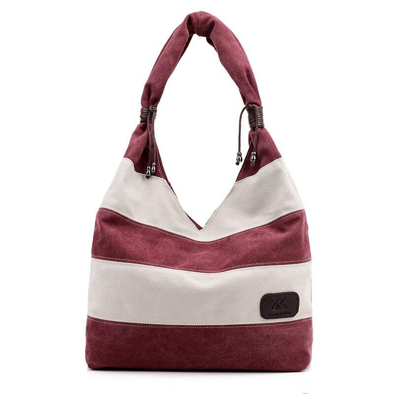 New Canvas Handbags Patchwork Colour Shoulder Bag Simple Casual Versatile Handbag Shopping Tote Bag Free Shipping