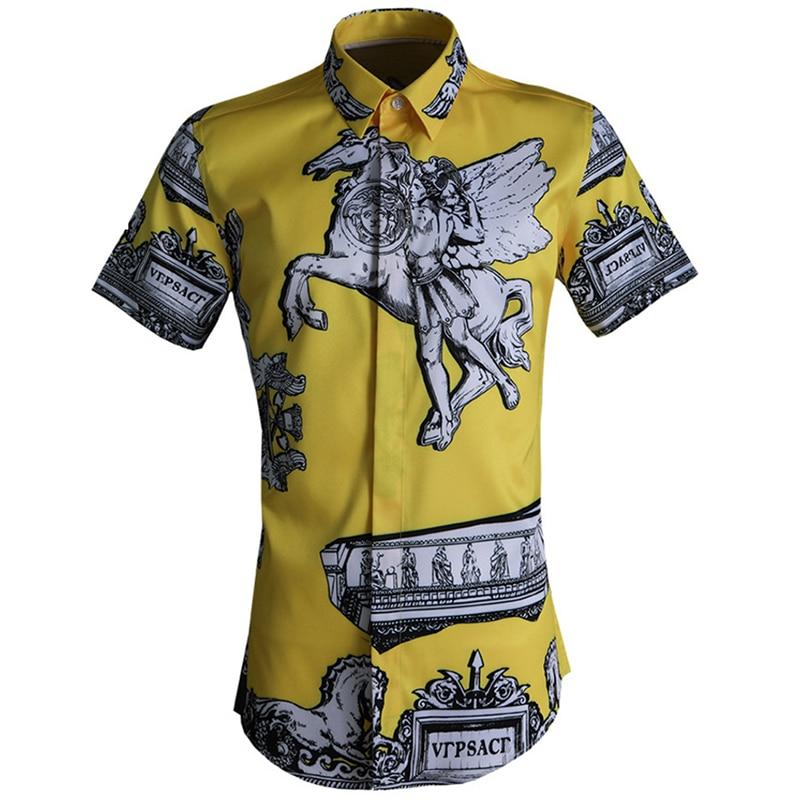 WunderschöNen 2019 Männer Kurzarm Rom Print-shirts Europa Street Fashion Hemd Persönlichkeit Männlich Schlank Drehen-unten Kragen Casual Kleidung Duftendes Aroma Legere Hemden Hemden