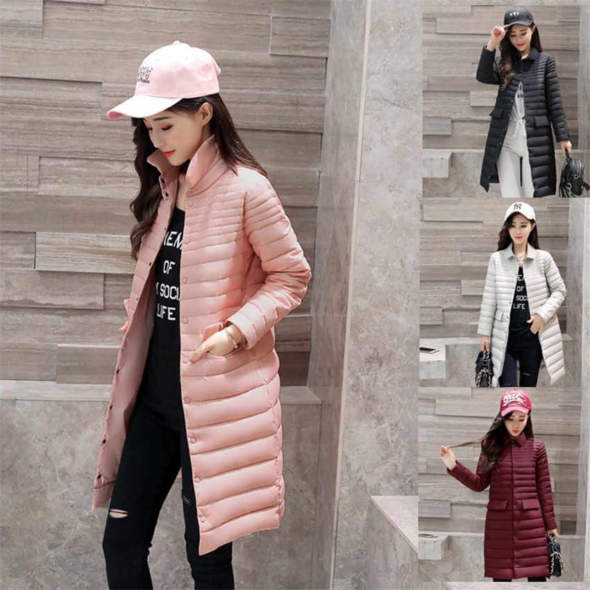 2018 новые осенние тонкие Для женщин средней длины на белом утином пуху куртка большого размера на пуху куртка косюм девушки розовые пуховые пальто Женская зимняя обувь куртки W460