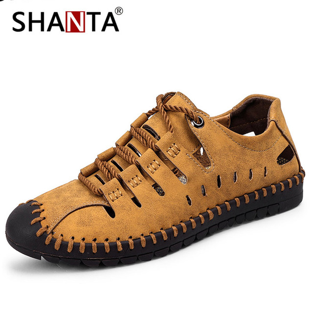 SHANTA 2019 New Summer Men Genuine Leather Sandals Casual Shoes Men Outdoor Beach Sandals Roman Men Summer Water Shoes Size 48