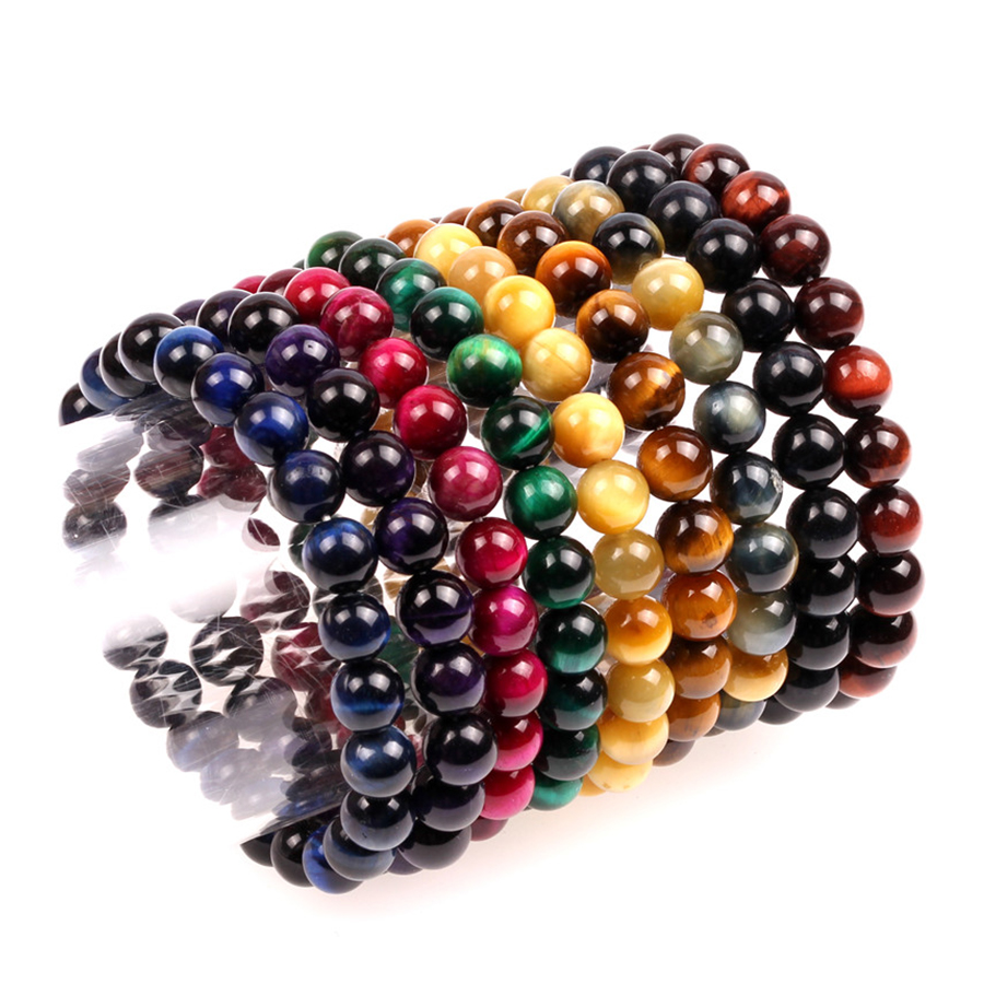 Trendy Semi-precious Stone Bracelet Men Women 8 10mm Natural Colorful Tiger Eye Handmade Healing Balance Pulsera