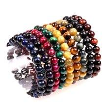 Trendy Semi-precious Stone Bracelet Men Women 8 10mm Natural Colorful Tiger Eye Handmade Healing Balance Pulsera