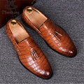 Genuine leather England designer brand casual wedding party dress alligator slip flats shoe oxfords tassel loafers male shoes