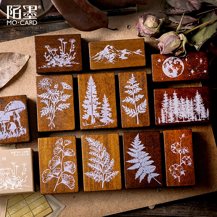 Wooden Rubber Stamps Moon And Herbal Plants Patterns Stamps Set For Diy Craft Card Scrapbooking Supplies