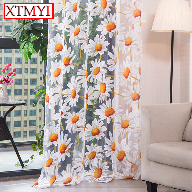 Modern Tulle Curtains For Living Room Bedroom Kitchen Yellow Floral Window Treatment Curtain Panel Drape