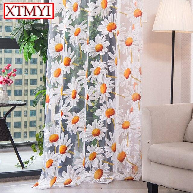 Hiện đại tulle rèm đối living room phòng ngủ nhà bếp rèm cửa màu vàng hoa Xử Lý Cửa Sổ Curtain Panel Treo Lên