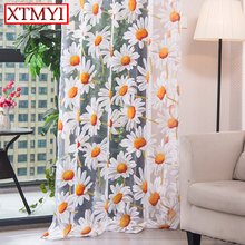 Modern tulle curtains for living room bedroom kitchen curtains yellow floral Window Treatment Curtain Panel Drape cheap XTMYI Cafe Hotel Office Home Rope French Window Ceiling Installation Woven XT-005 Translucidus (Shading Rate 1 -40 ) Included