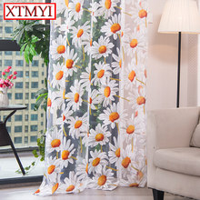Modern tulle curtains for living room bedroom kitchen curtains yellow floral Window Treatment Curtain Panel Drape(China)