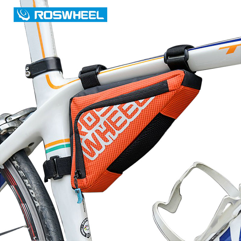 ROSWHEEL Bicycle Frame Triangle Bag Storage Pouch Bags Cycling MTB Road Bike Tube Corner Pannier Blue/Orange Bycicle 121274