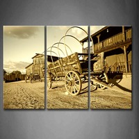 3 Pics Framed Wall Art Pictures Cowboy Town Wagon Canvas Print Artwork Car Modern Posters With Wooden Frames For Decor