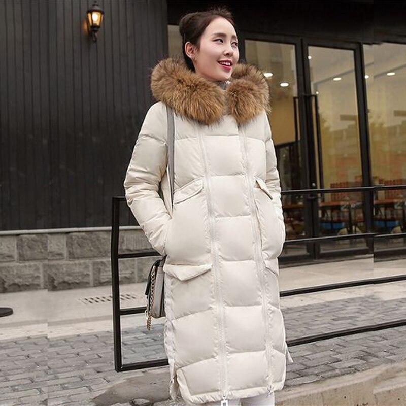 Abrigo de invierno Las Mujeres  Gran Engrosamiento Cuello de Piel de Mapache Lar