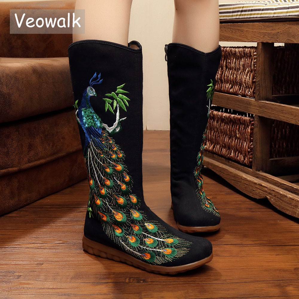 Veowalk Autumn Old Beijing Peacock Sequins Cotton Embroidered Woman Casual Mid Boots Ladies Platform Canvas Shoes