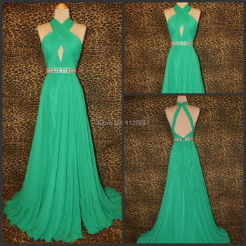 Real Sample Sexy Green Chiffon Evening Gowns Sleeveless Floor Length Open Back Beading Sashes Prom Dress Custom Made