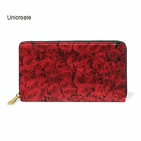 Love Red Rose Wallet Women Zipper Long Card Holder Large Female Genuine Leather Money Bag For Girls Coin Purse Gift For Girls