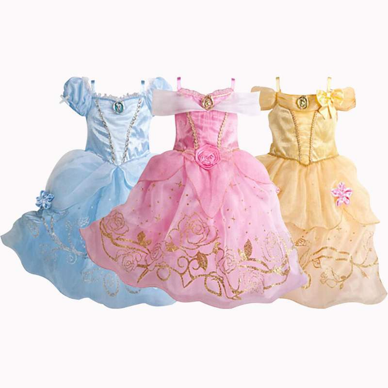 CNJiaYun Christmas Cinderella Girls Dress Snow White Princess Dresses For Girls Rapunzel Aurora Children Cosplay Kids Clothing qiu dong children dress long sleeved cinderella princess dress love sally dresses of the girls