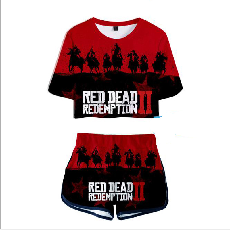 Women Two Piece Outfits Red Dead Redemption 2 3D Print 2 Piece Set Crop Top and Short Pants Tracksuit For Women Sets Streetwear