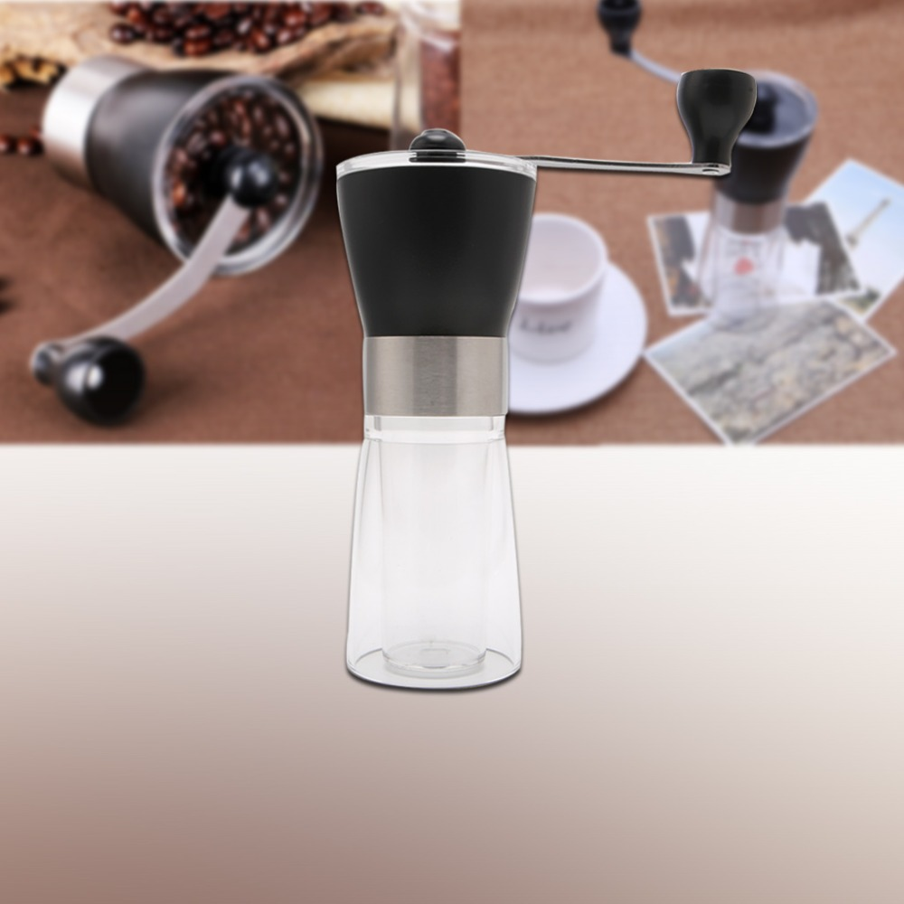 Free_on Mini Portable No-slip Design Stainless Steel Manual Coffee Bean Grinder Hand Mill Crank Kitchen Tool hand coffee grinder 160ml portable manual handcrank coffee bean spice mill kitchen tool coffee stainless steel abs glass