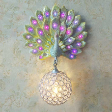 Modern Luxury Southeast Asia Colorful K9 Crystal Metal Bird Nest Lampshade Resin Peacock Wall Lamp for Background Aisle