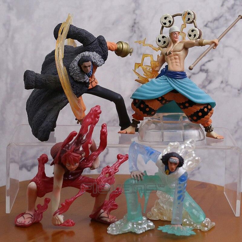One Piece Luffy Kuzan Sir Crocodile Enel Anime Cartoon PVC Figures Collectible Model Toys Christmas Gift 4pcs/set japan anime one piece kuzan cosplay toy pvc navy headquarters senior general action figure gift collectible model toys hzw008
