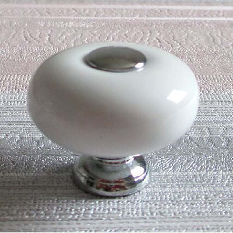 32mm White Dresser Knob handles Ceramic Kitchen Cabinet Knobs silver Drawer Pull Door Pull Handle Furniture