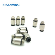 10Pcs/lot POC10-01 Tube Outside Diameter 10 Thread Size 01 Pneumatic Pipe Fitting Connector