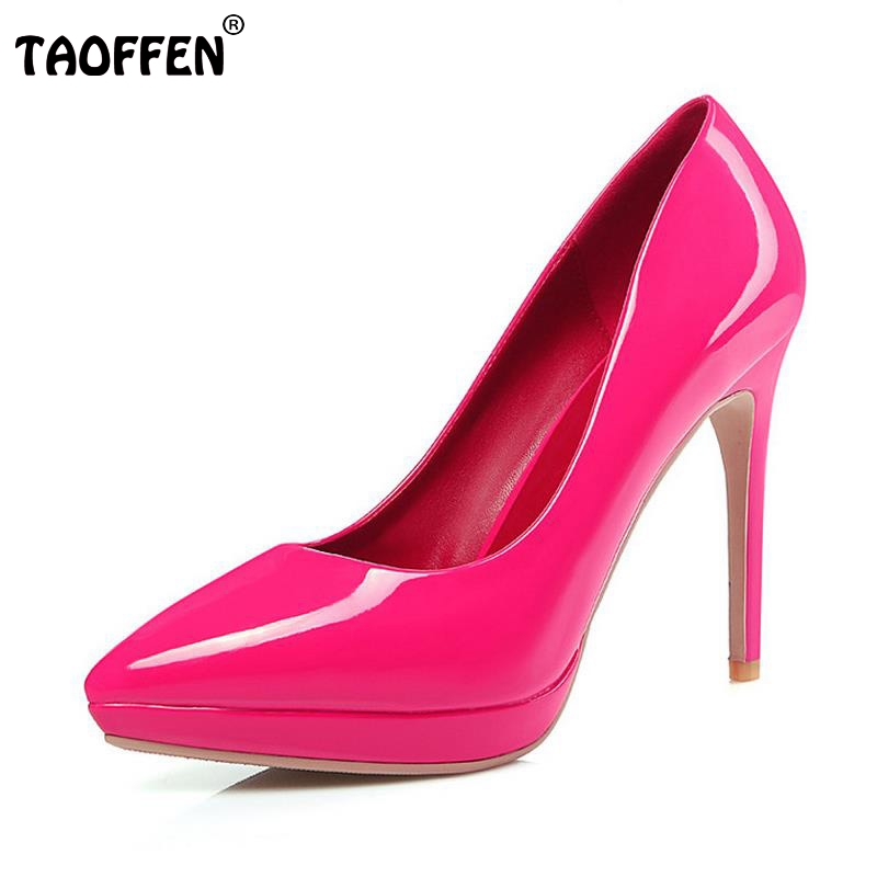 TAOFFEN Women High Heel Shoes Sexy Pointed Toe Thin Heels Pumps Ladies Wedding Party Shoes Platform Heels Shoes Size 34-39 allbitefo fashion sexy thin heels pointed toe women pumps full genuine leather platform office ladies shoes high heel shoes