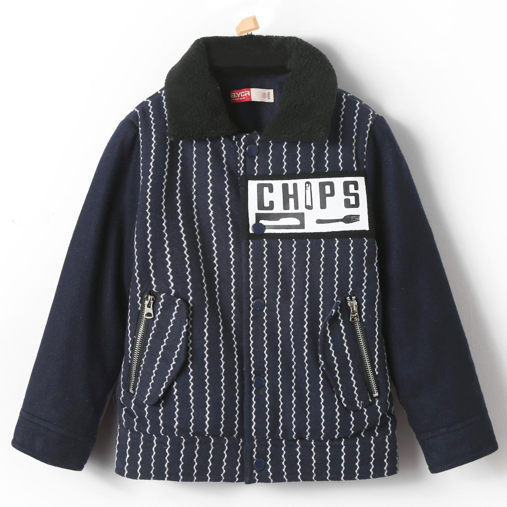 Boy Woolen Jacket Warm Stripped Casual for Children Outerwear Thermal Thick Stripe Coat Cotton Padded Wool Blend Kid Button Top free shipping 2015 cotton padded jacket men s nick coat cotton padded jacket wool liner thick warm cotton denim outerwear