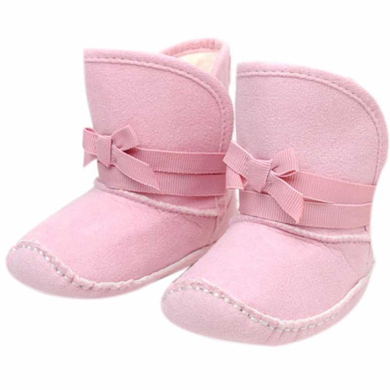 Sweet girl Pink Bowknot Baby Girl Boots Plastic Heart-shaped Printed Bottom Warm Newborn Shoes j2 ...