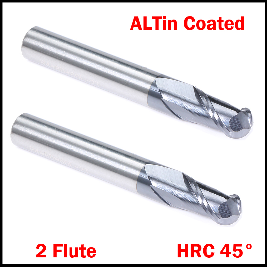 Tools Qualified R3 R4 Hrc45 2 Flute Tungsten Solid Carbide Altin Coated Cnc Router Cutting Tool Ball Nose End Mill Milling Cutter Making Things Convenient For Customers Machine Tools & Accessories