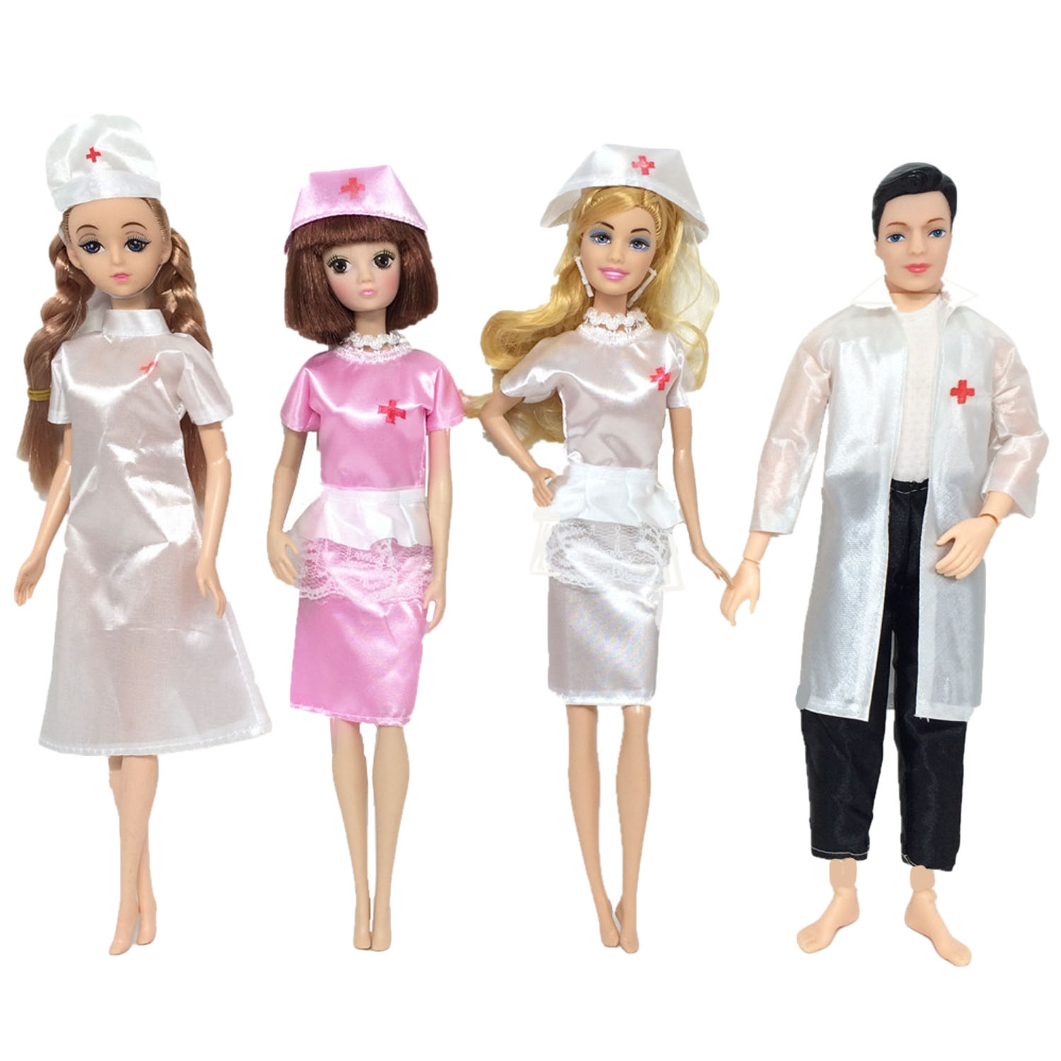 4 Sets Mini Girl Doll Nurse Dresses Skirts Ken Doll Doctor Clothes Medicine Career Apparel Outfits Accessories For Barbie Toys