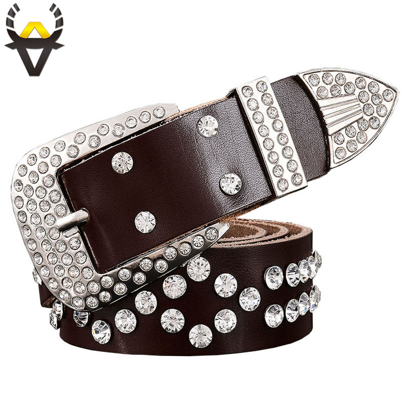 Fashion Rhinestone Genuine Leather Belts For Women Luxury Pin Buckle Woman Belt Quality Second Layer Cow Skin Strap Width 3.3 Cm