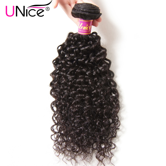 UNice Hair Company Indian Curly Hair Bundles Remy Hair Weave Natural Human Hair Extensions 1 Piece Can Mix Length 8-26inch