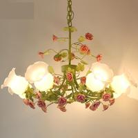 Pastoral Style Chandeliers Living Room Lamps Lanterns 8 / 6 Heads Chandelier Lighting Korean Style Flowers Led Chandelier