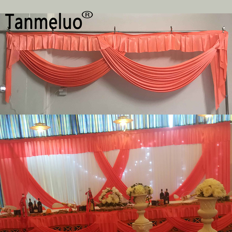 New arrival simple design orange wedding backdrop drapery swags no white curtain event party decoration customized