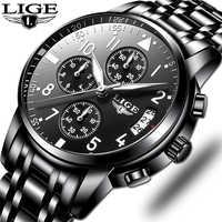 Reloj de negocios de cuarzo a prueba de agua para Hombre, reloj deportivo informal para Hombre de lujo, marca LIGE, Relojes para Hombre