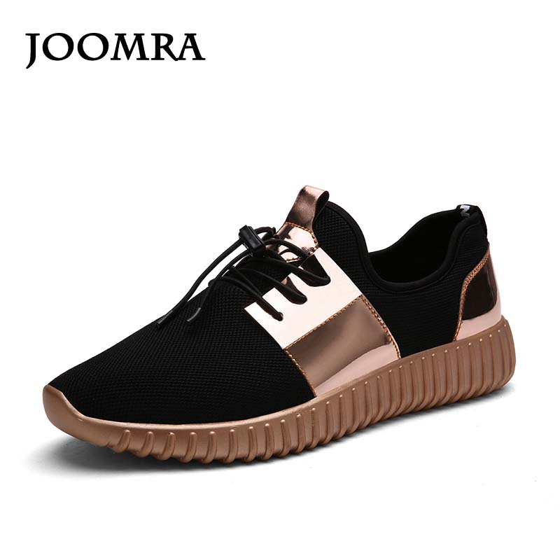 Joomra Glossy Gold Men&women Air Mesh Running Shoes Sport Sneakers Breathable Couple Durable Jogging Shoes Outdoor Sport Shoe