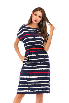Summer Autumn Striped Dress Women Short Sleeve Sexy Casual Dress O-neck Stripe Women Pocket Elegant Dresses Plus Size 5