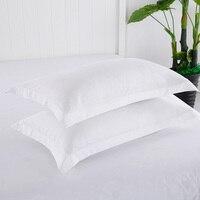 Ev ve Bahçe'ten Yastık Kılıfı'de % 100% Pamuk beyaz yastık kılıfı 2 Adet Dikdörtgen yatak Yastık Örtüsü Düz Renk Yastık Kılıfı 48*74 cm Yüksek Kalite 45