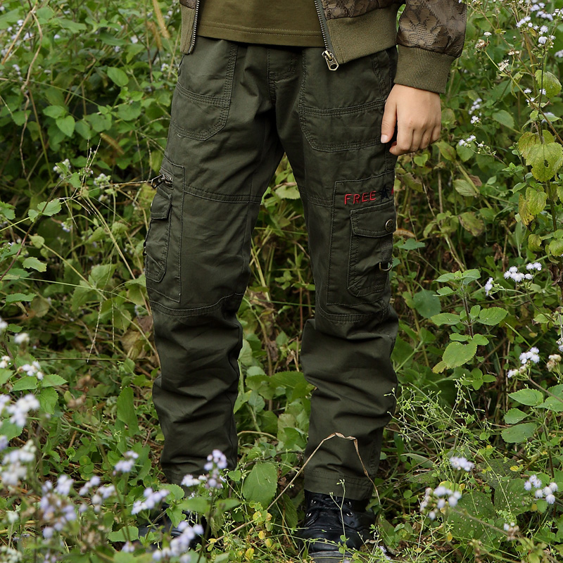 Brand Autumn Cotton Pants Outdoor Miltary Style Boys Cargo Pants Overalls Army Green Embroidered Long Trousers Kids Trousers in Pants from Mother Kids