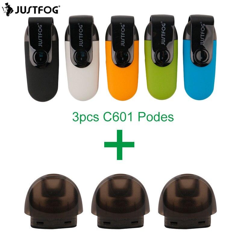 JUSTFOG C601 KIT VS C601 vainas 3EA pluma Vape Mini Kit portátil Kit de cigarrillo electrónico 650 mAh batería 1,7 ml tank cargador USB
