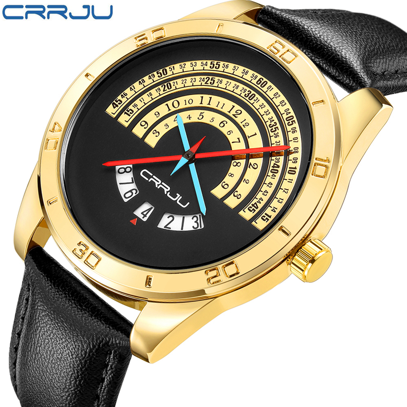 2017 New CRRJU Sport Quartz Watch Waterproof Mens Watches Top Brand Luxury Genuine Leather Date Clock relogio masculino 2017 new top fashion time limited relogio masculino mans watches sale sport watch blacl waterproof case quartz man wristwatches