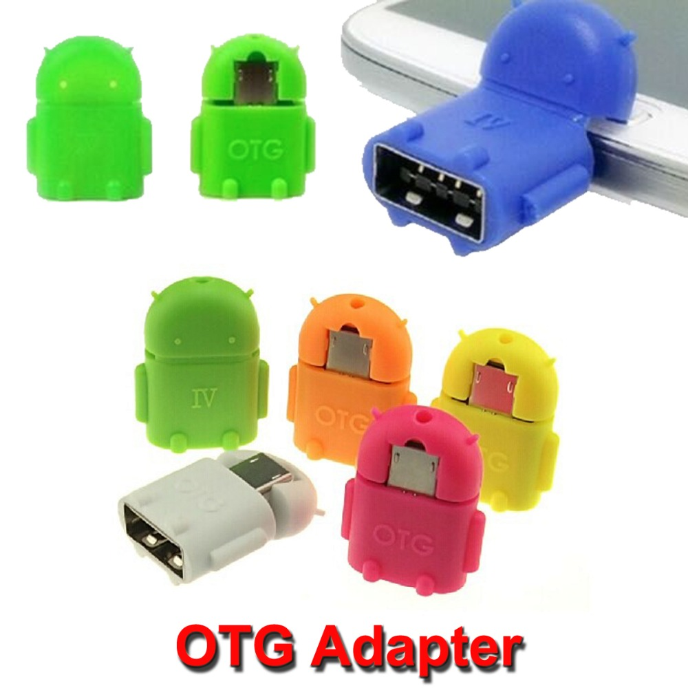 Mini USB OTG Adapter For Android Robot Shape Micro Converter 2.0 For Samsung Xiaomi Tablet PC Connect To U Flash Mouse Keyboard car usb sd aux adapter digital music changer mp3 converter for skoda octavia 2007 2011 fits select oem radios