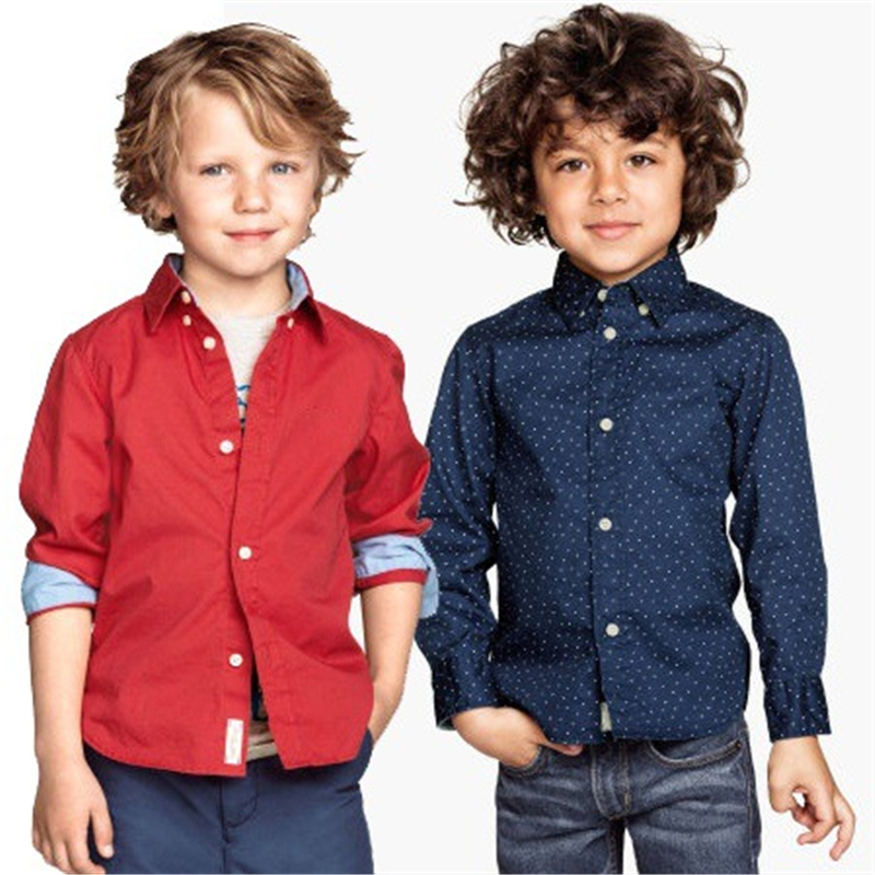 TZCZX 1pcs High quality Children Boys Polka dot Long sleeved Cotton shirts clothing