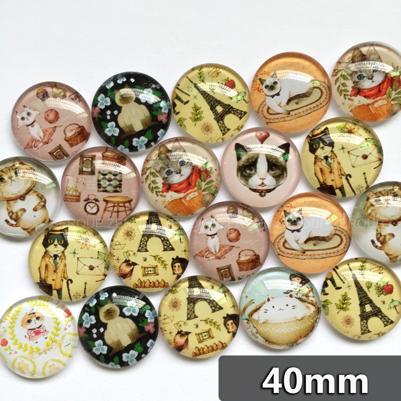 ᗕZEROUP 40mm Handgefertigte Foto Glascabochons Mixed Muster ...