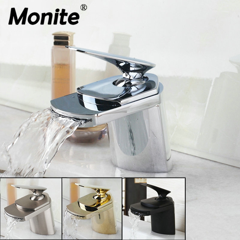 Monite Waterfall Solid Brass Golden Plated Faucets Chrome Black Nickel Basin Bathroom Lavatory Sink Torneira Faucet