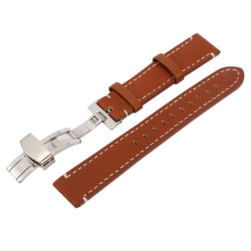 Unisex Watchbands Womens Leather Watch Strap Band Mens Stainless Steel Buckle 18 20 22mm