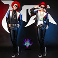 2016 new men leather jacket male costumes black DJ dancer singer performance show outwear coat nightclub party bar use