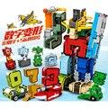 Creativo Montaje De Artículos Educativos Preescolar Transformar Number Robots Deformación Avión y Coche de regalo de Navidad de Cumpleaños Juguetes m145