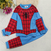 Boy Cotton Cartoon Captain America IronMan Spider Man Pajamas Boyspajamas Kids Super Heroes Clothes Set Children